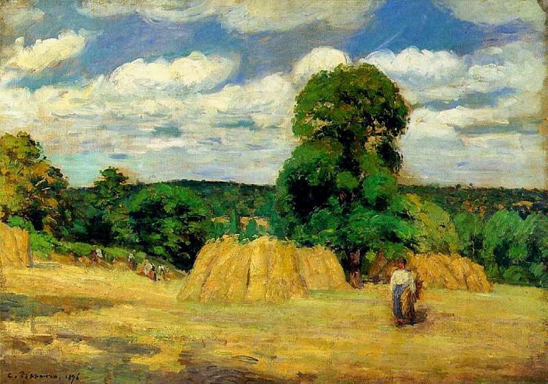 The Harvest at Montfoucault. (1876). Camille Pissarro