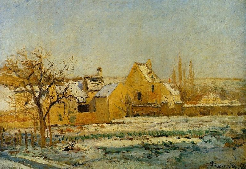 The Effect of Snow at lHermitage. (1874). Camille Pissarro