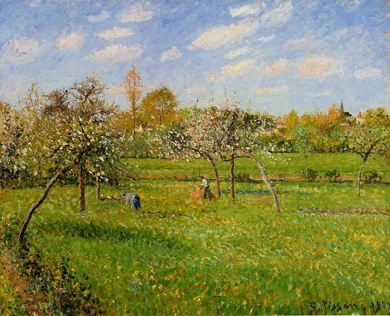 Morning, Spring, Grey Weather, Eragny. (1900). Camille Pissarro