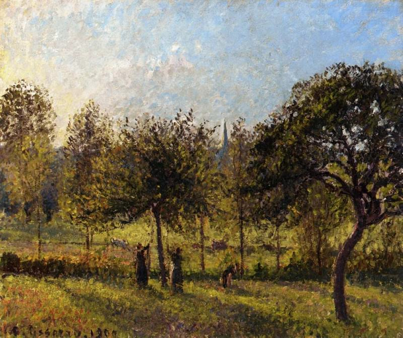 Садящееся за горизонт солнце, осень в Эраньи (1900). Камиль Писсарро