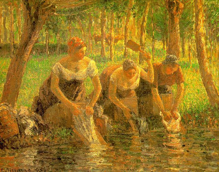 Pissarro Washerwomen, Eragny-sur-Epte, 1895, private collect. Camille Pissarro