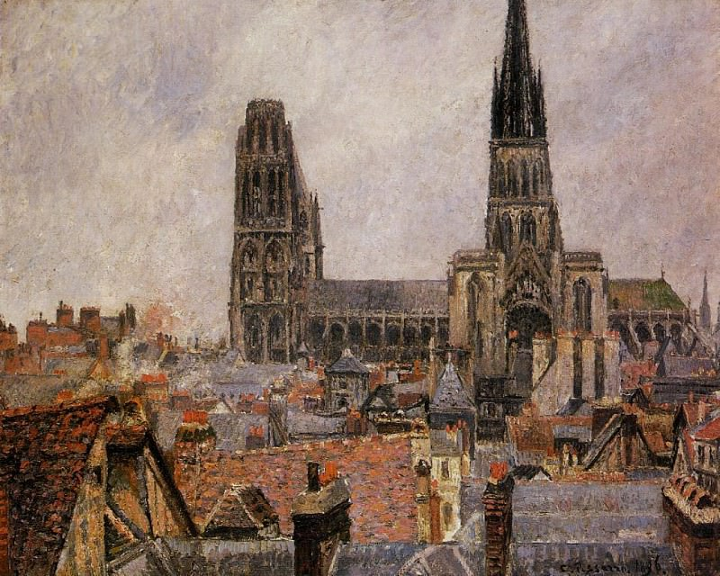 The Roofs of Old Rouen - Grey Weather. (1896). Camille Pissarro