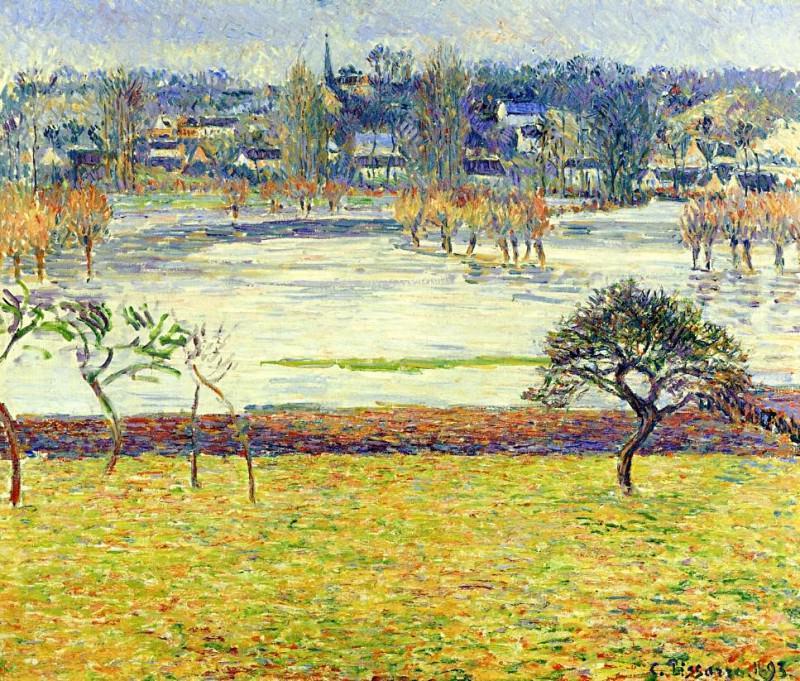 Flood, White Effect, Eragny. (1893). Camille Pissarro