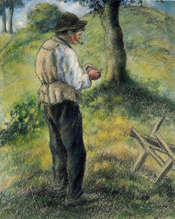 Папаша Мелон, зажигающий свою трубку (1879-80). Камиль Писсарро