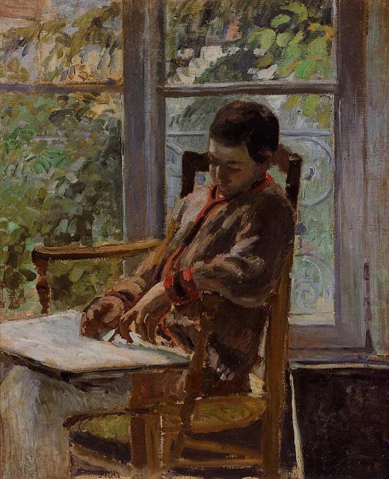 Lucien Pissarro in an Interior. (1875). Camille Pissarro