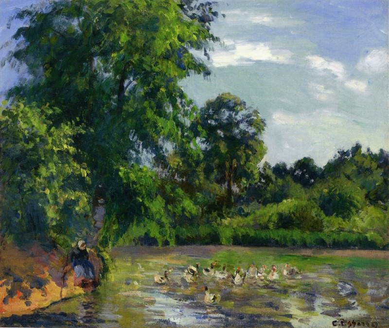 Ducks on the Pond at Montfoucault. (1874). Camille Pissarro