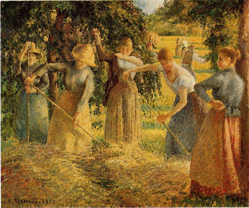 Harvest at Eragny. (1901). Camille Pissarro