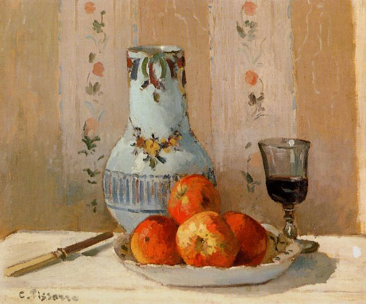 Still Life with Apples and Pitcher. (1872). Camille Pissarro