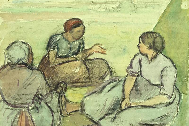 Three Peasant Women, Pissarro, 1890 - 1600x1200 - ID 7573. Camille Pissarro