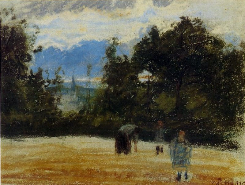 The Clearing. (1876). Camille Pissarro