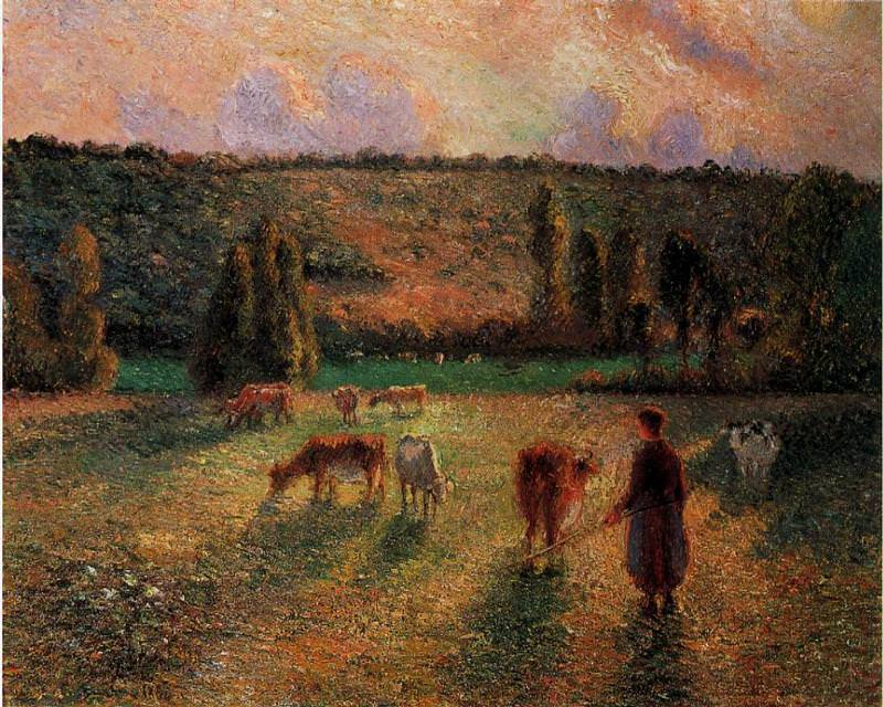 Cowherd at Eragny. (1884). Camille Pissarro