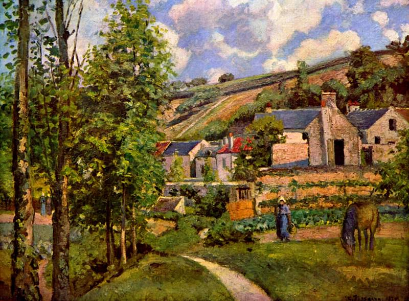 The Hermitage at Pontoise. (1874). Camille Pissarro
