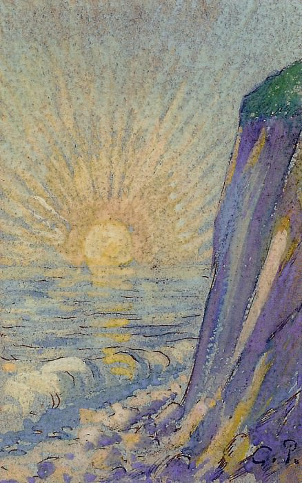 Sunrise on the Sea. (1883). Camille Pissarro