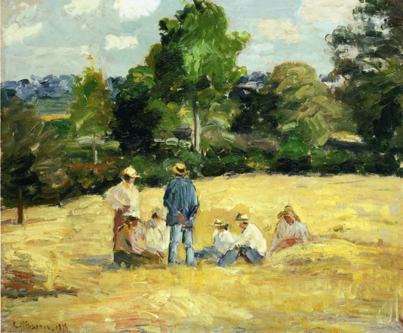 Resting Harvesters, Montfoucault. (1875). Camille Pissarro