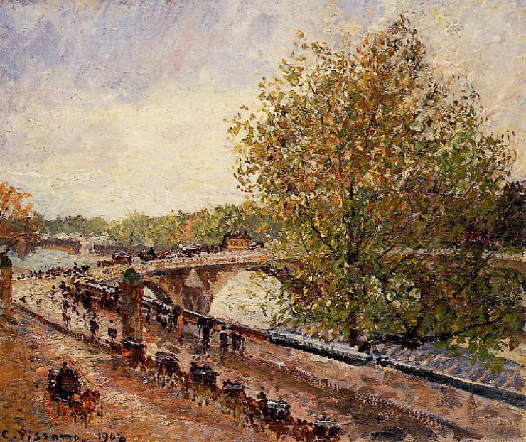 The Pont Royal - Grey Weather, Afternoon, Spring. (1902). Camille Pissarro