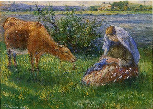 Cowherd, Pontoise. (1880). Camille Pissarro