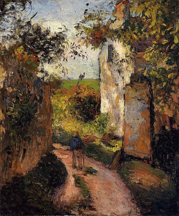 A Peasant in the Lane at lHermitage, Pontoise. (1876). Camille Pissarro
