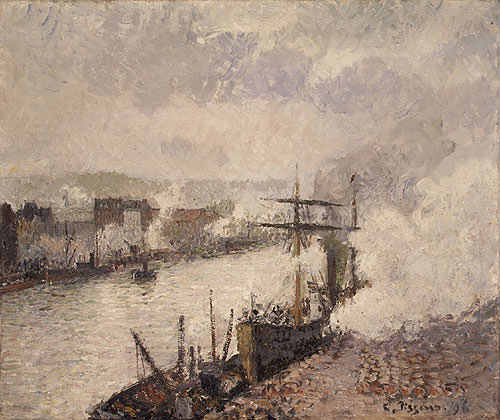 Pissarro Steamboats in the Port of Rouen 1896. Camille Pissarro
