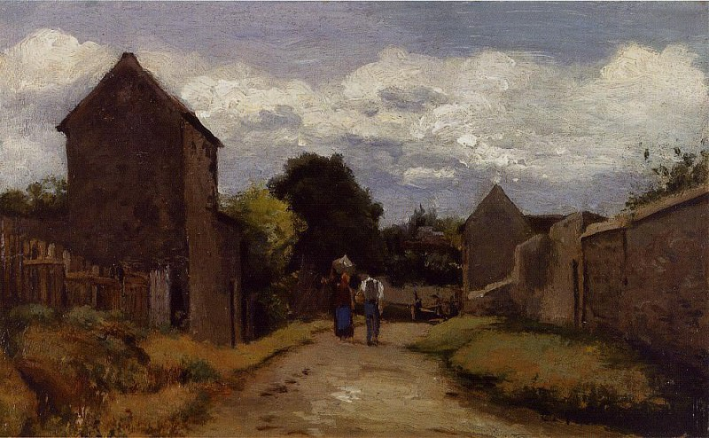 Male and Female Peasants on a Path Crossing the Countryside. (1863-65). Camille Pissarro