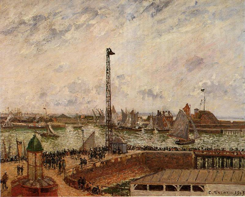 The Pilots Jetty, Le Havre, Morning, Grey Weather, Misty. (1903). Camille Pissarro