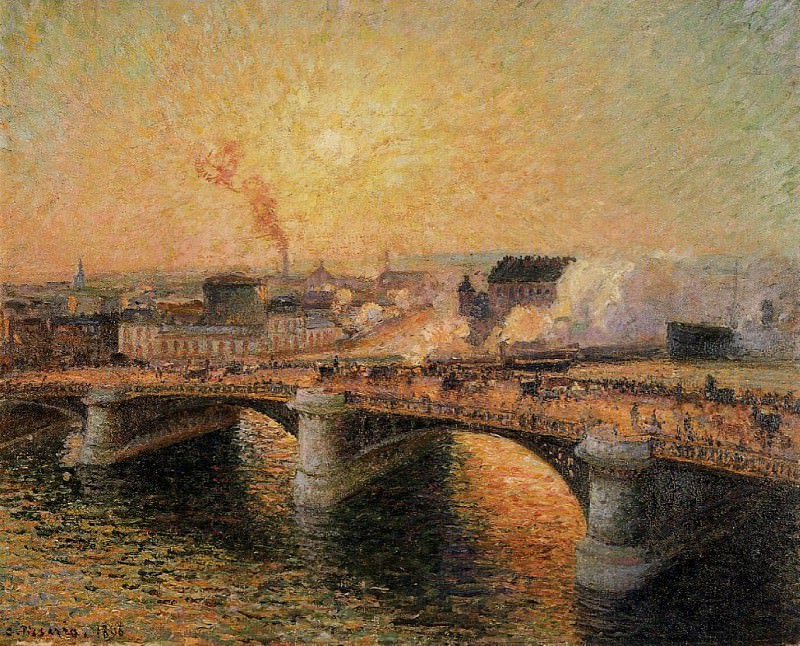 The Pont Boieldieu, Rouen - Sunset. (1896). Camille Pissarro