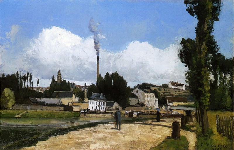 Landscape with Factory. (1867). Camille Pissarro