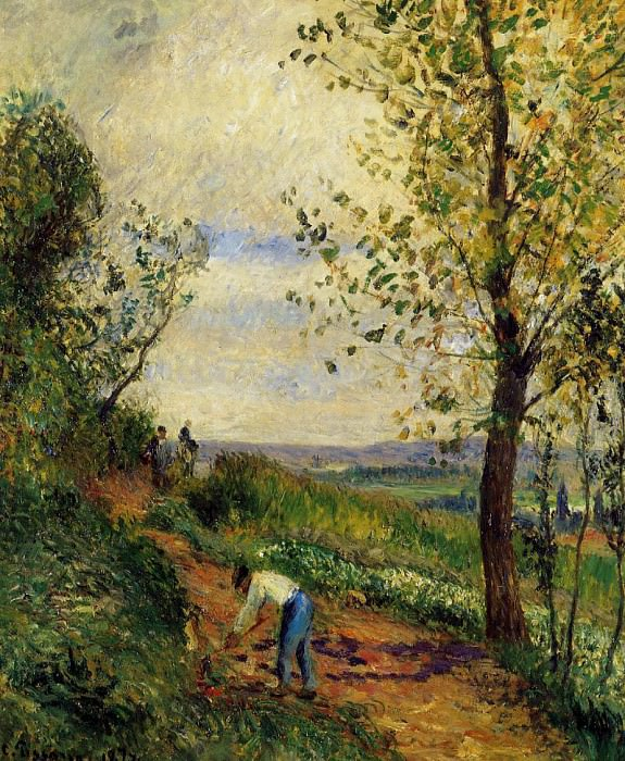 Landscape with a Man Digging. (1877). Camille Pissarro