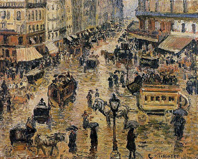 Гаврская площадь в Париже, дождь (1897). Камиль Писсарро