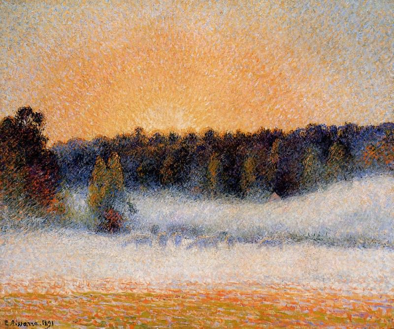 Setting Sun and Fog, Eragny. (1891). Camille Pissarro