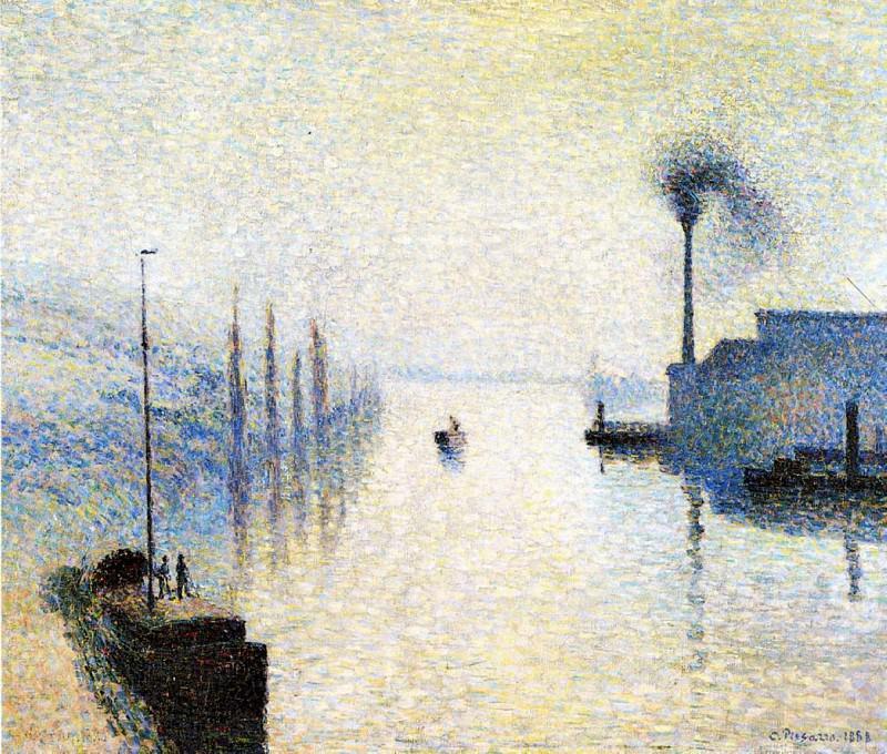 Ile Lacruix, Rouen - Effect of Fog. (1888). Camille Pissarro