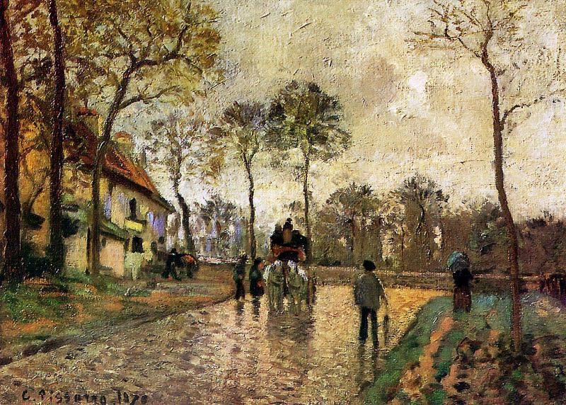 Stagecoach to Louveciennes. Camille Pissarro