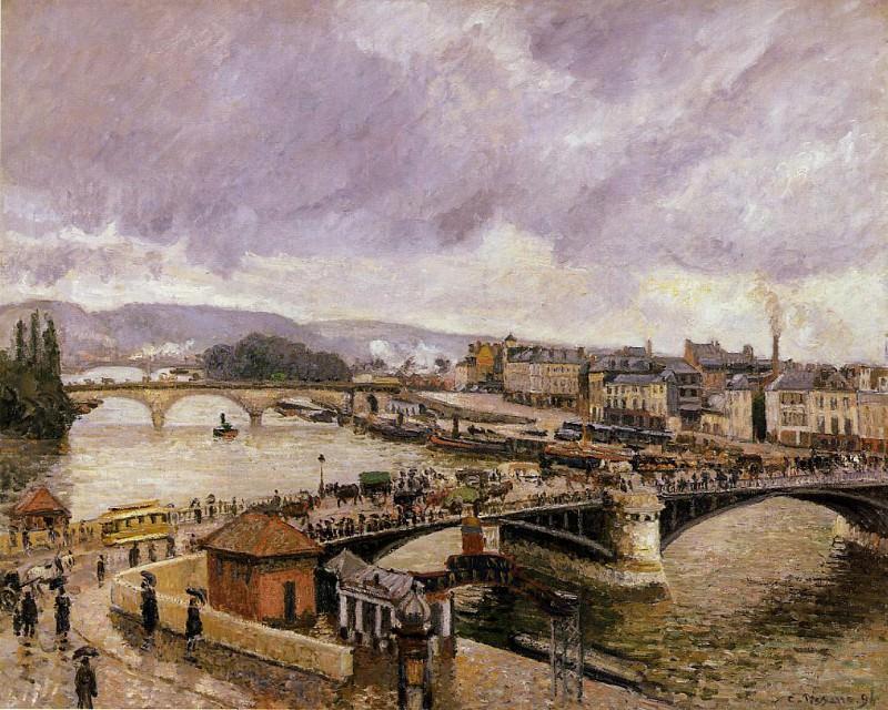 Мост Буаэльдьё - Впечатление от дождя (1896). Камиль Писсарро