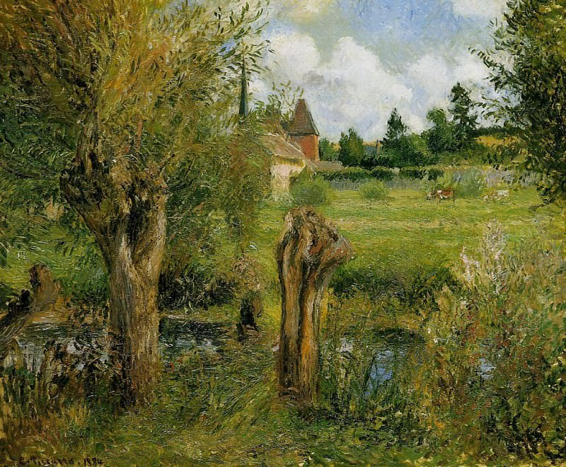 The Banks of the Epte at Eragny. (1884). Camille Pissarro