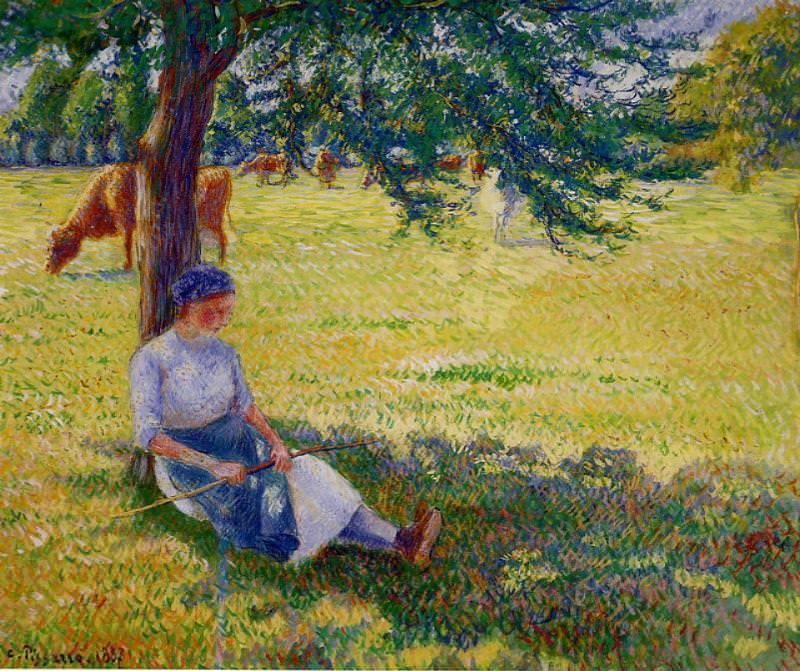 Cowgirl, Eragny. (1887). Camille Pissarro