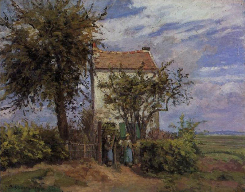 The House in the Fields, Rueil. (1872). Camille Pissarro