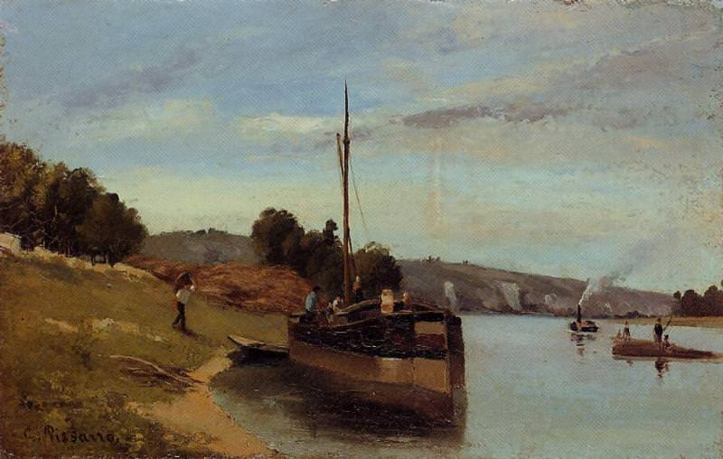 Barges at Le Roche Guyon. (1865). Camille Pissarro