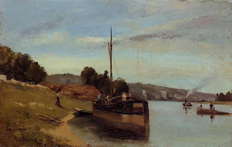 Баржи в Ле-Рош-Гюйон (1865). Камиль Писсарро