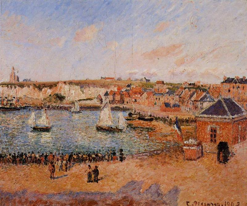 The Inner Harbor, Dieppe - Afternoon, Sun, Low Tide. (1902). Camille Pissarro