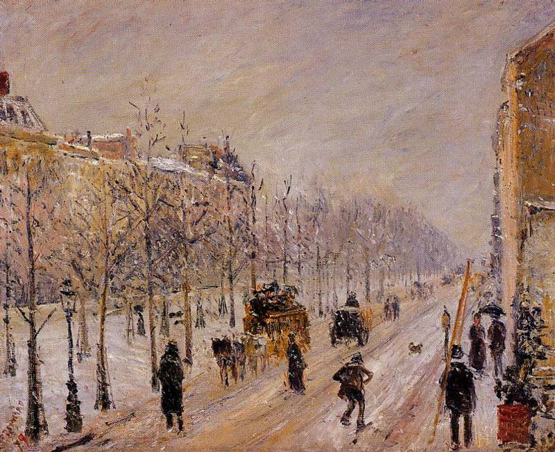 The Outer Boulevards, Snow Effect. (1879). Camille Pissarro