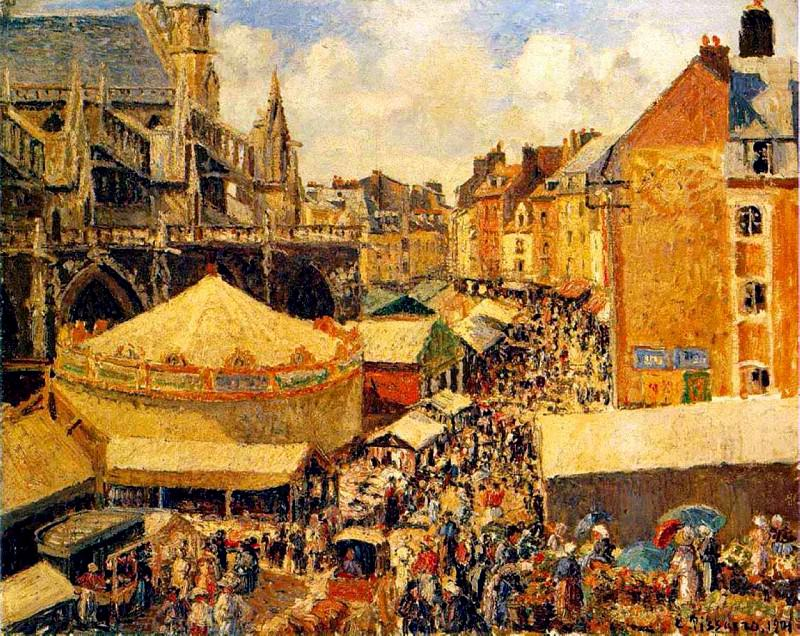 The Fair in Dieppe - Sunny Morning. (1901.jpeg). Camille Pissarro