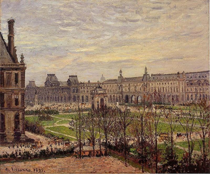Площадь Каррузель - Пасмурная погода (1883). Камиль Писсарро