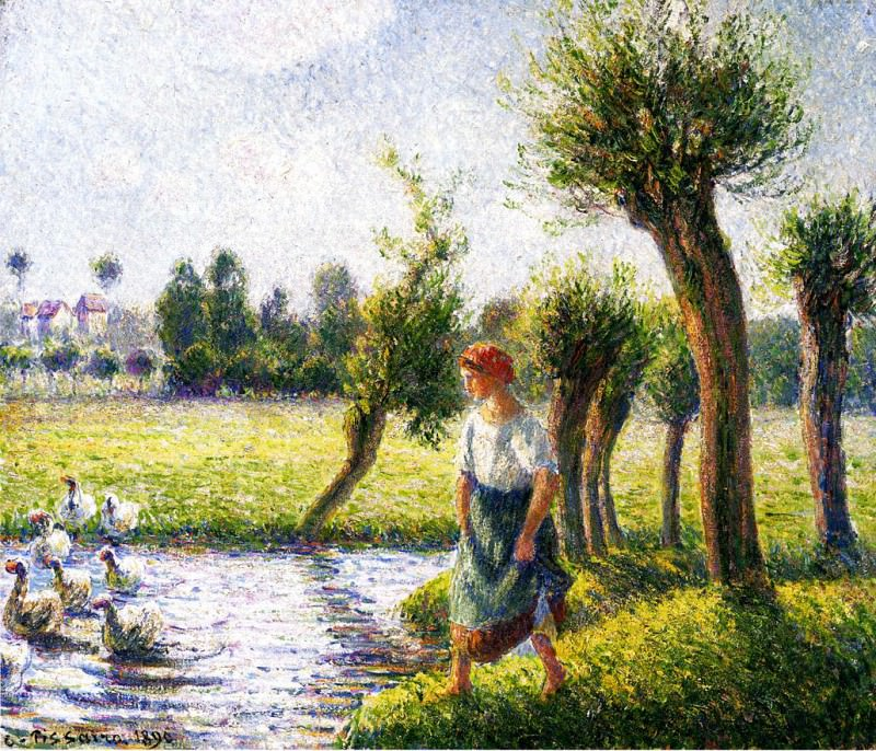 Peasant Woman Watching the Geese. (1890). Camille Pissarro