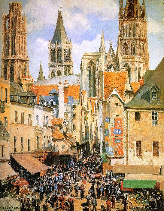 The old market at Rouen. Camille Pissarro