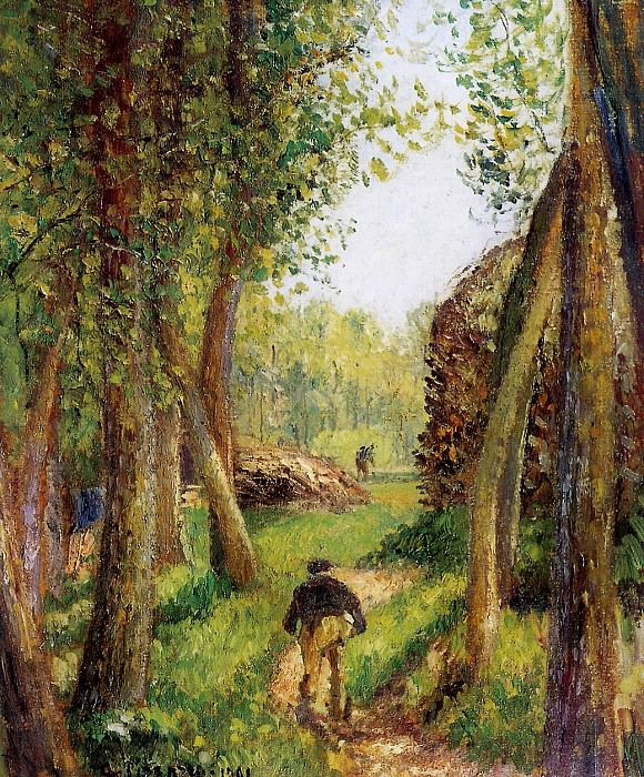 Forest scene with two figures. Camille Pissarro