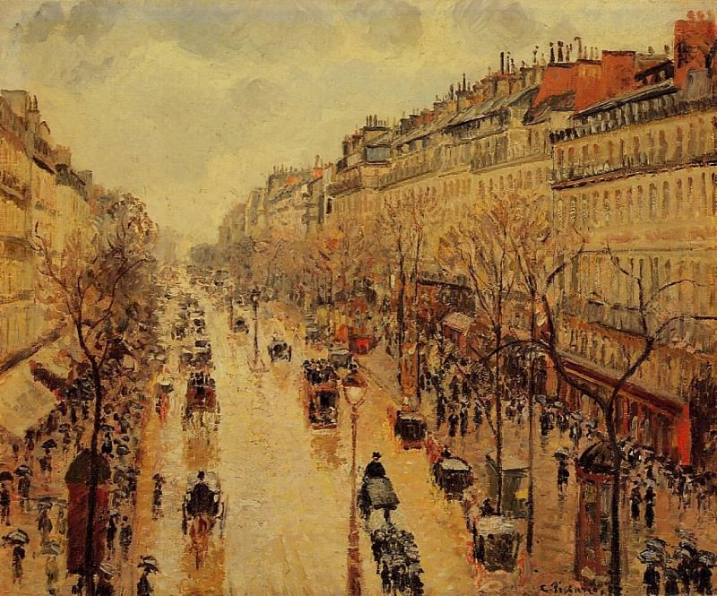 Boulevard Montmartre - Afternoon, in the Rain. (1897). Camille Pissarro