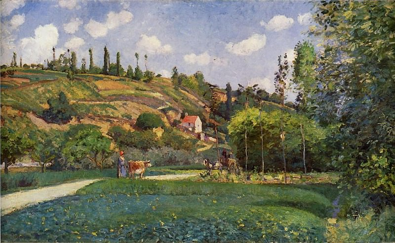 A Cowherd on the Route de Chou, Pontoise. (1874). Camille Pissarro