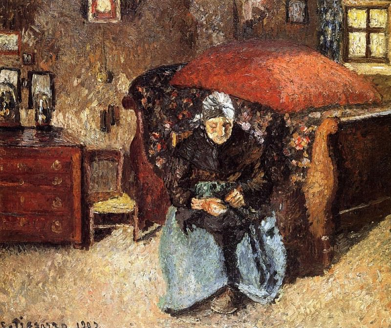 Elderly Woman Mending Old Clothes, Moret. (1902). Camille Pissarro