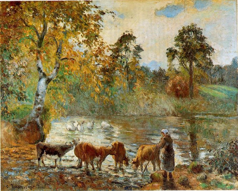 The Pond at Montfoucault. (1875). Camille Pissarro