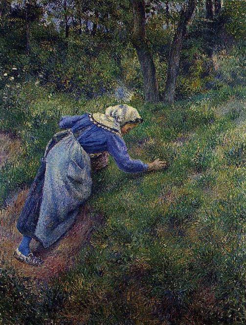 Peasant Gathering Grass. (1881). Camille Pissarro