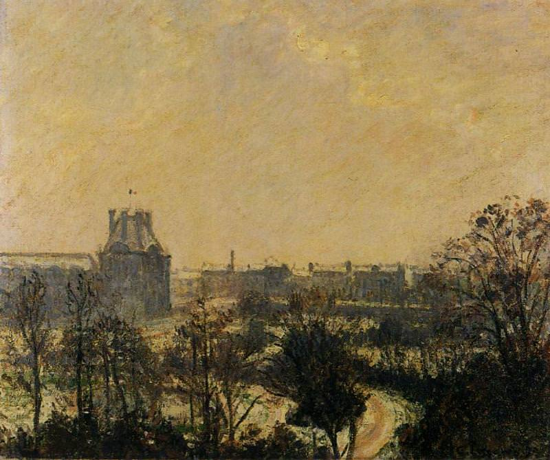 Garden of the Louvre - Snow Effect. (1899). Camille Pissarro